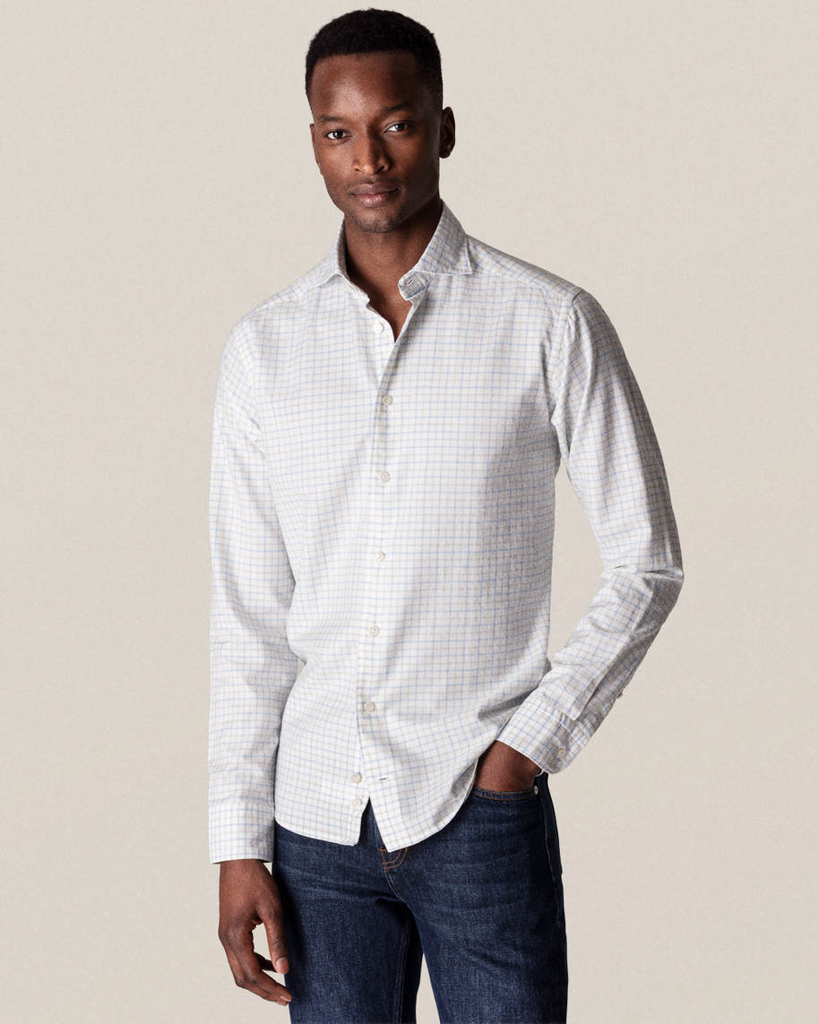 Blue Checks Cotton-silk Shirt - image 1