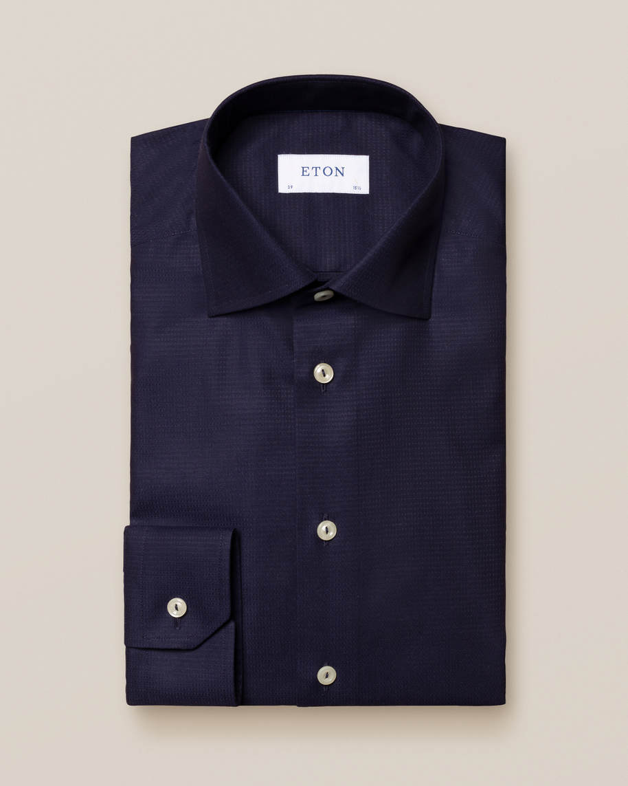 Blue Pin Dot Twill Shirt - image 1