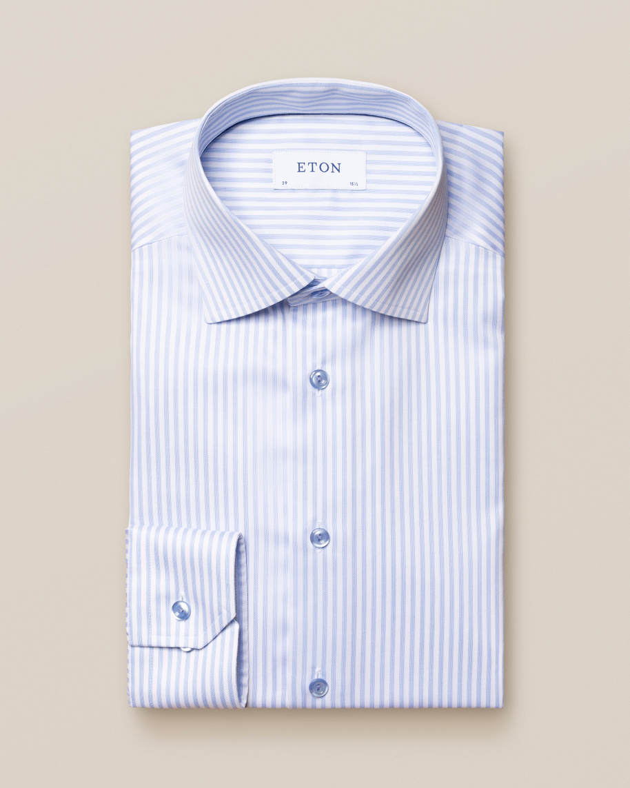 Blue Striped Signature Twill Shirt - image 1