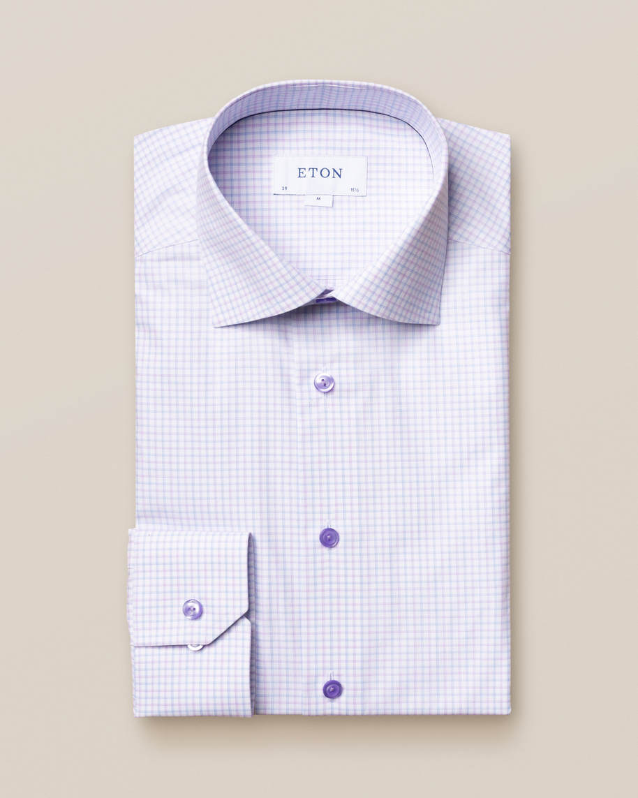 Purple Checked Fine Twill Shirt - image 1