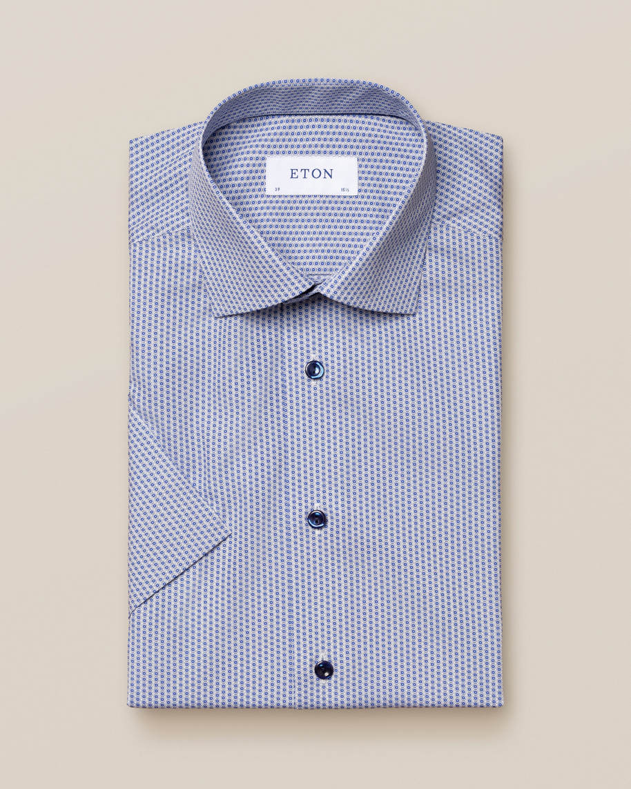 Blue Glass Print Poplin Shirt – Short Sleeve - image 1