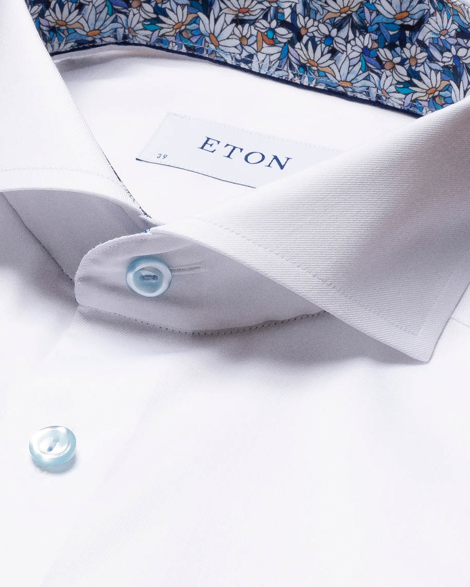 White Signature Twill Shirt – Printed Details