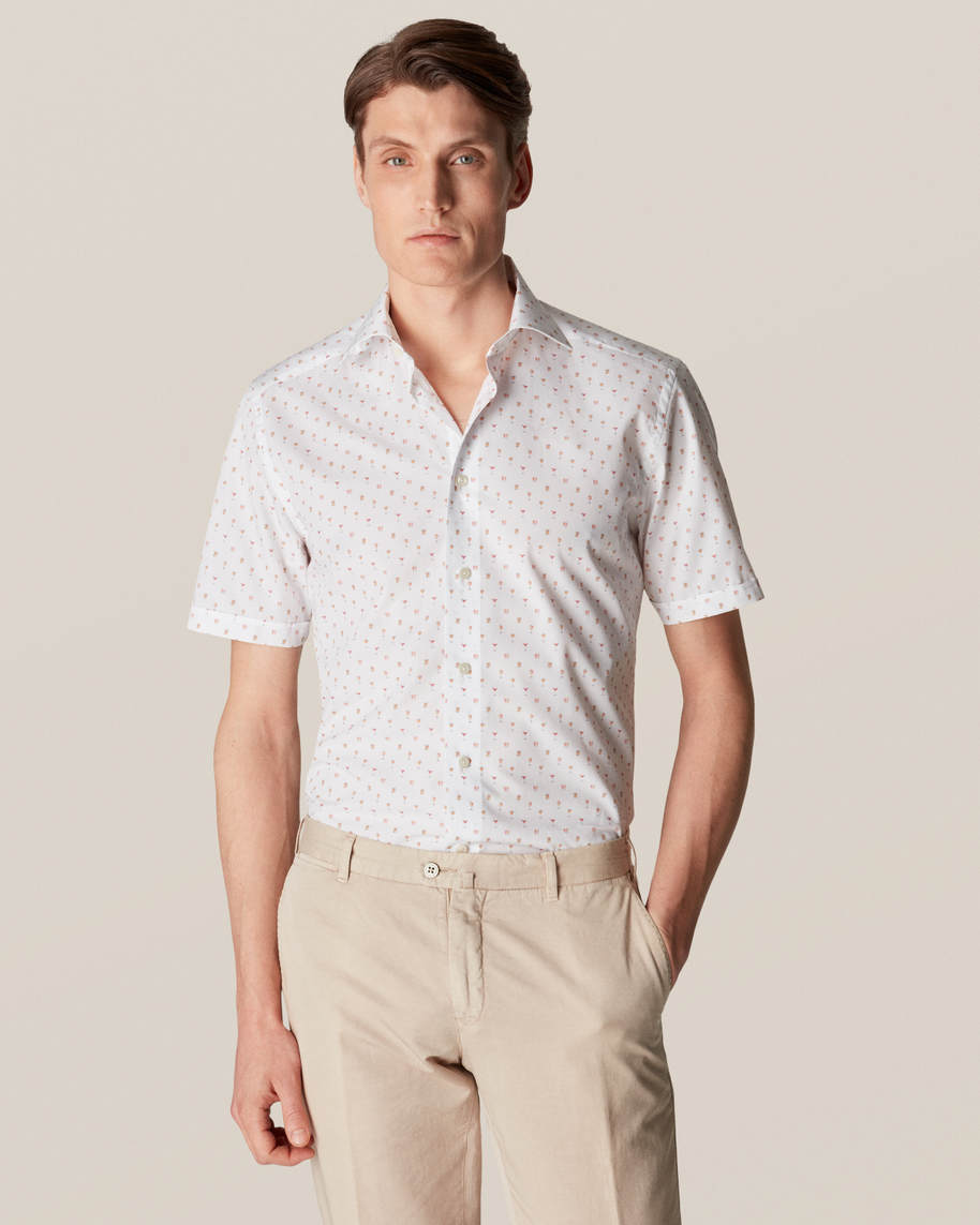 White Cocktail Print Poplin Shirt - Short Sleeved