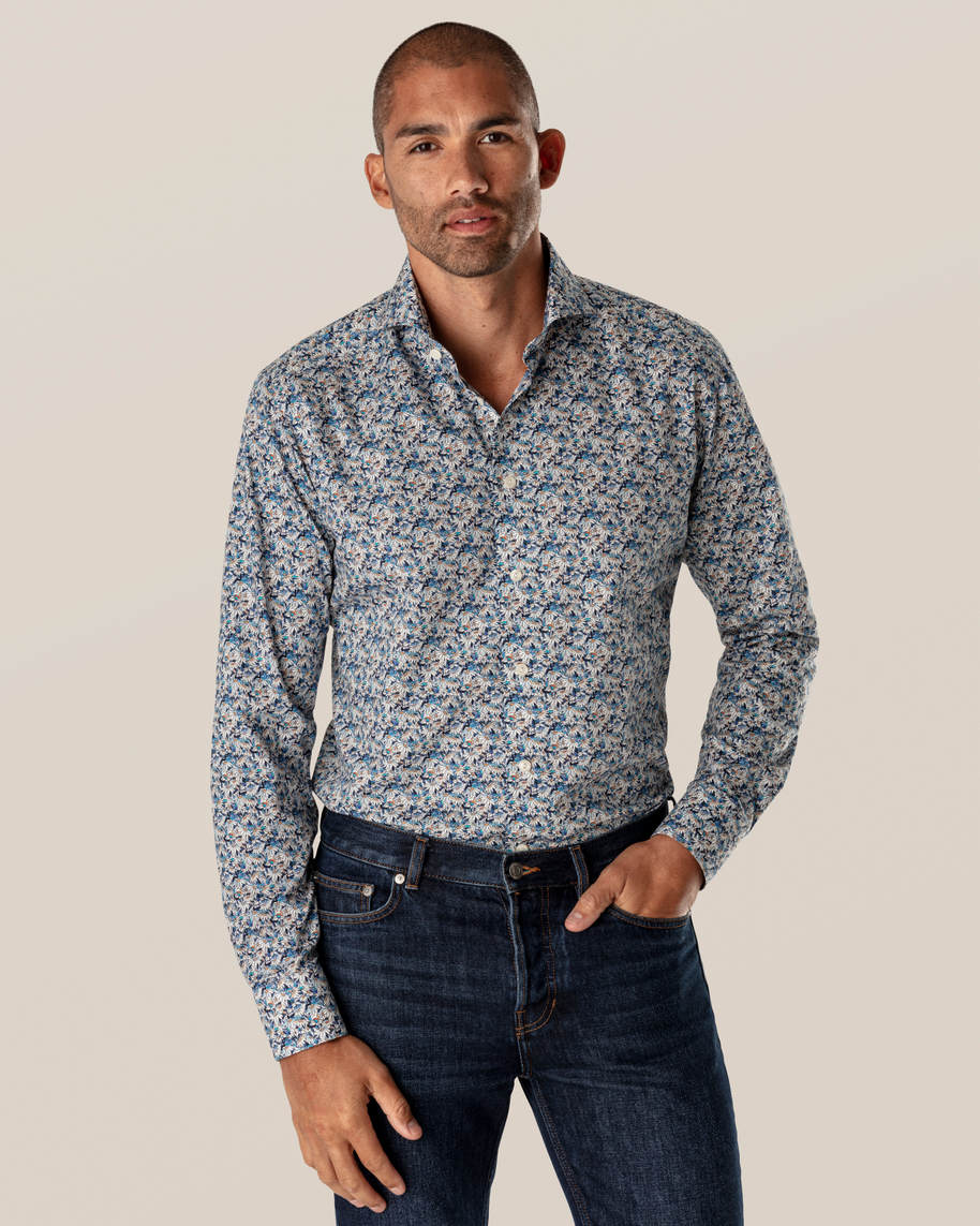 Blue Stained Floral Signature Twill Shirt