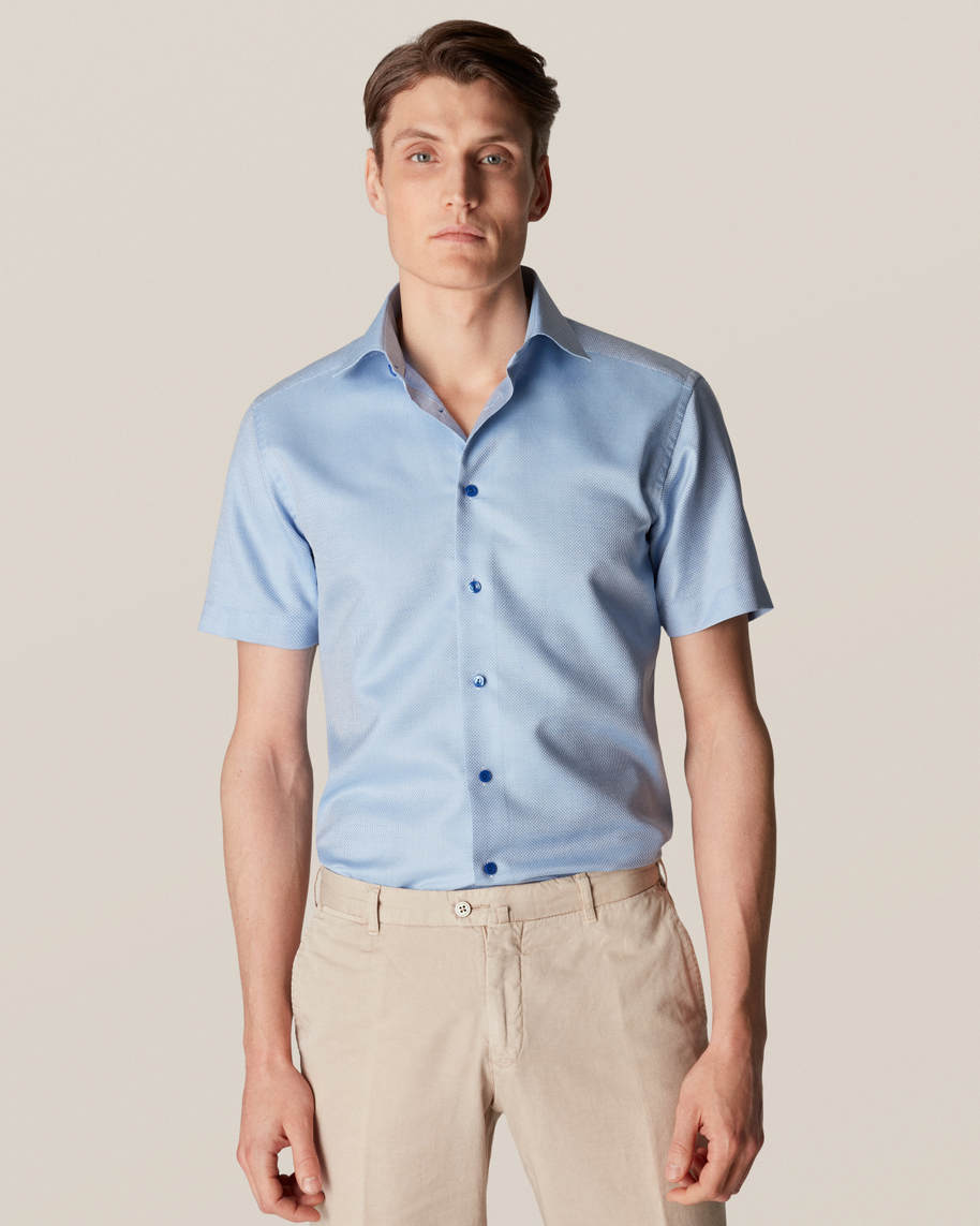 Blue Cotton-linen Shirt - Short Sleeved