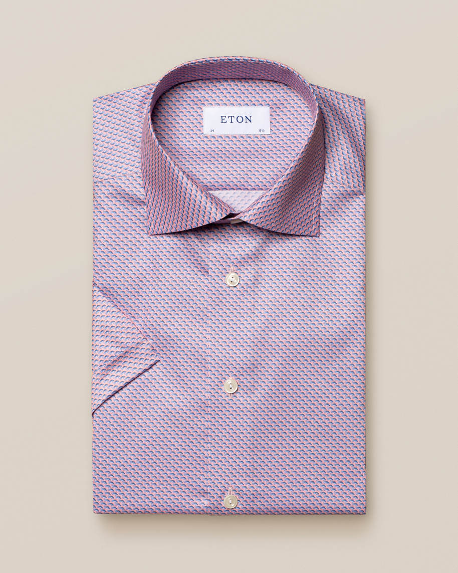 Pink Fish Print Signature Twill Shirt  - Short Sleeved - image 1