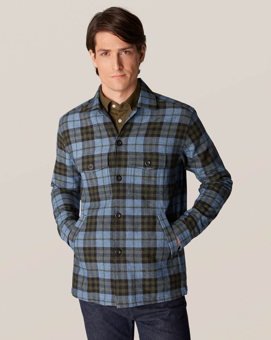 Blue Checked Cotton–wool-cashmere Flannel Overshirt