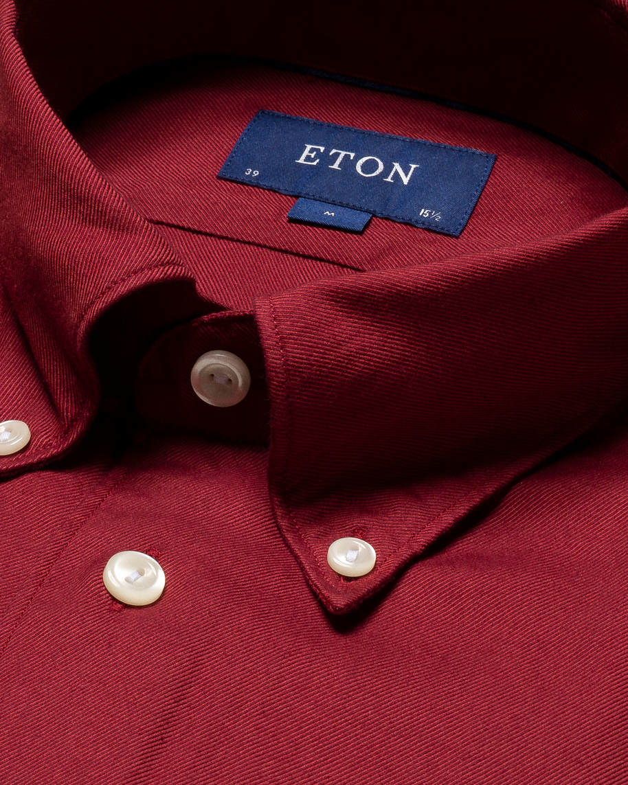 Red Cotton–Tencel™ Flannel Shirt