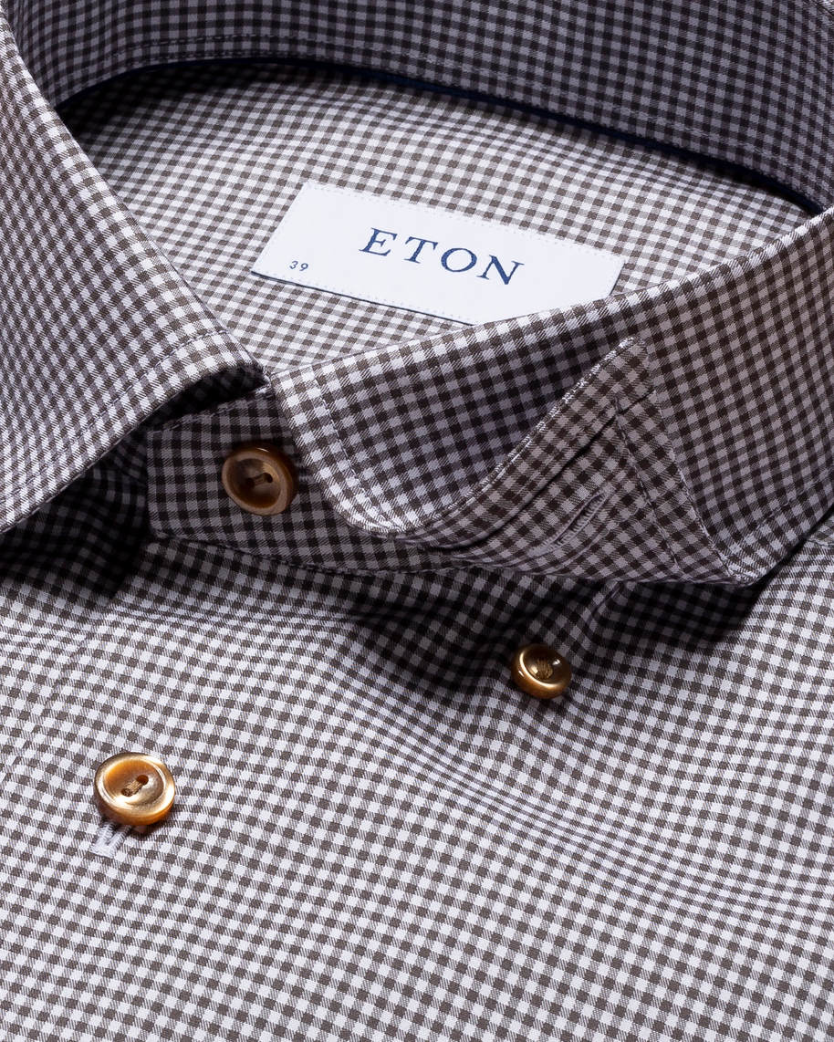 Brown Checked Fine Twill Shirt