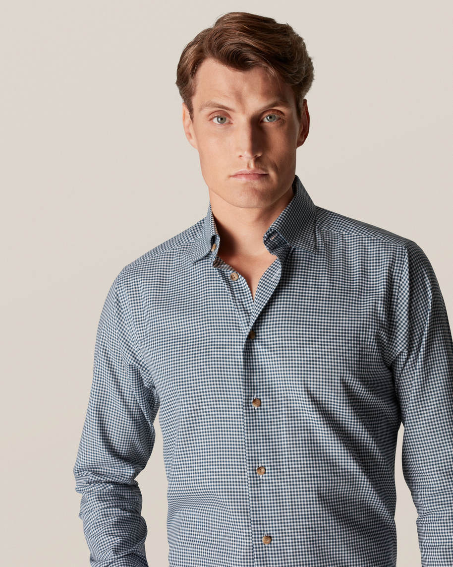 Green Checked Wrinkle-Free Flannel Shirt