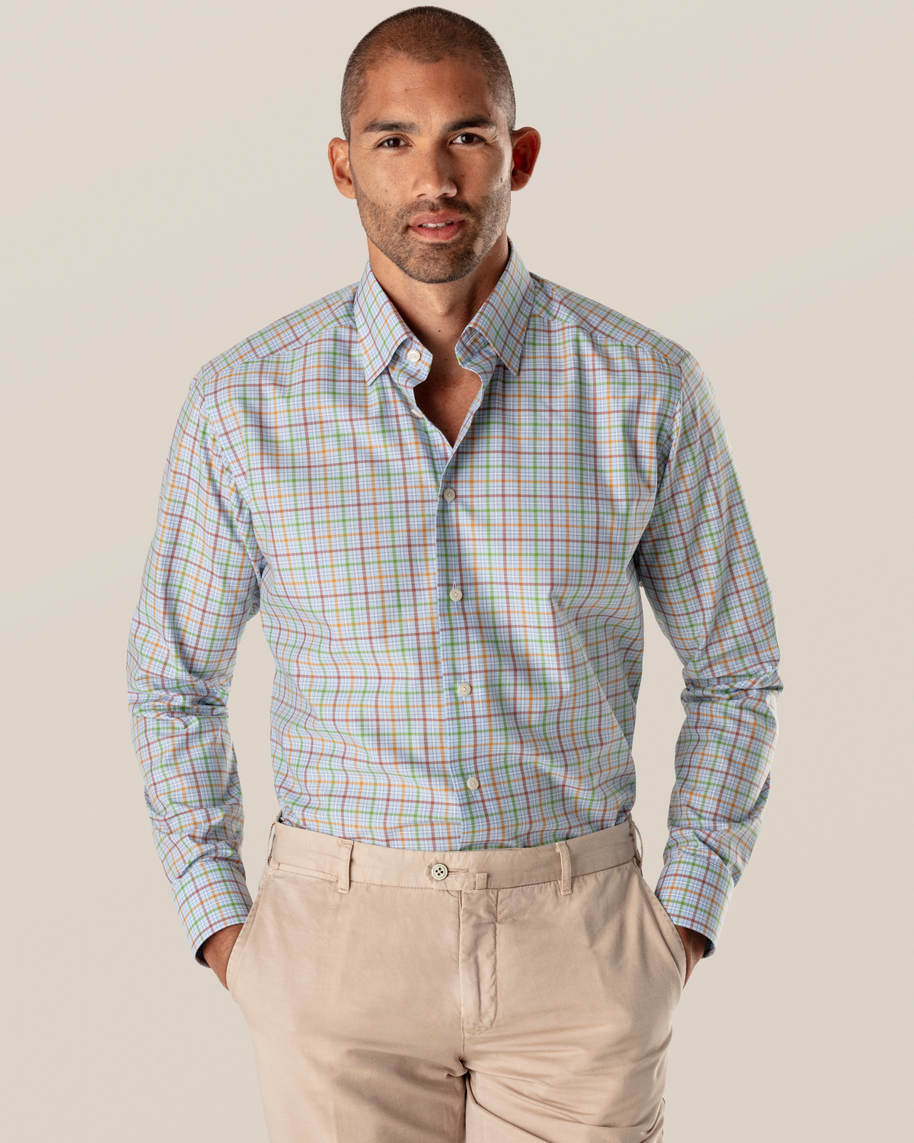 Multi Colored Checks Fine Twill Shirt - image 1