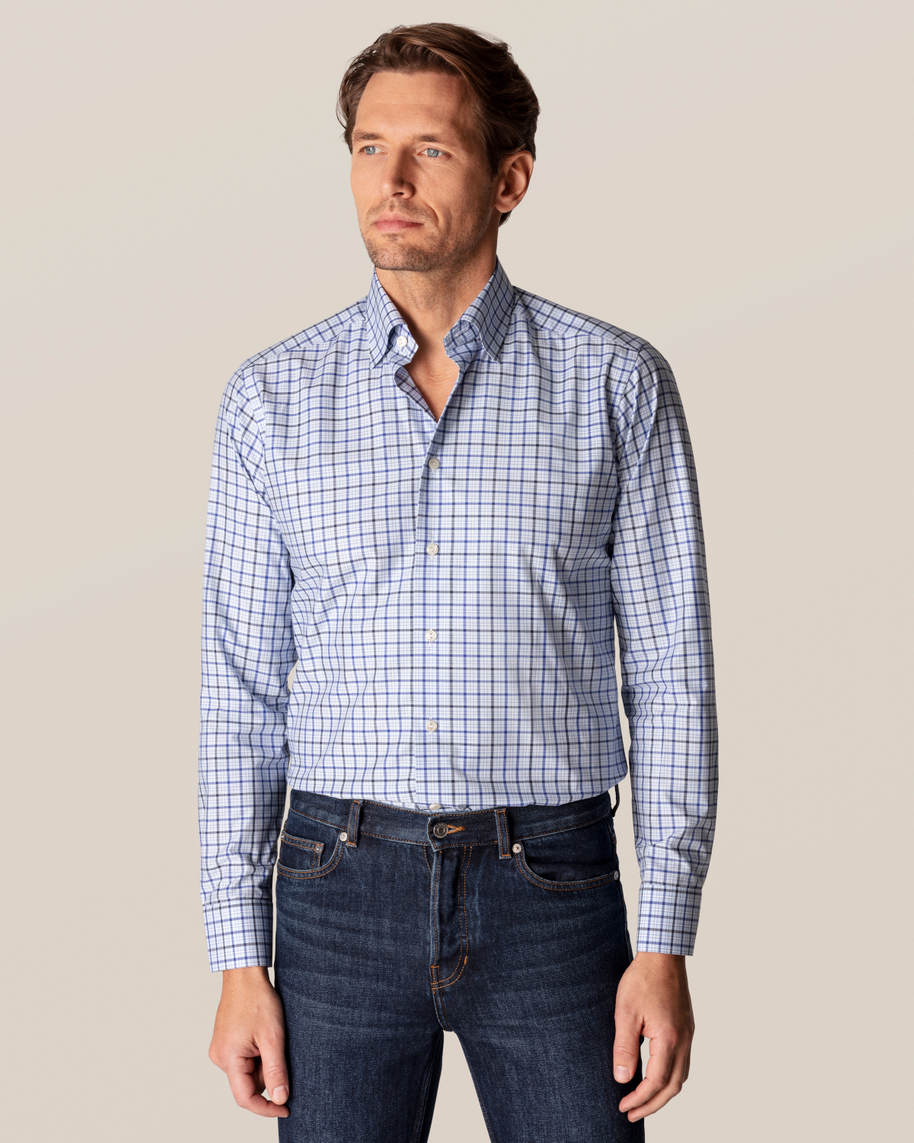 Blue Checks Fine Twill Shirt - image 1