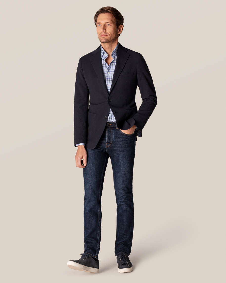 Blue Checks Fine Twill Shirt - image 8