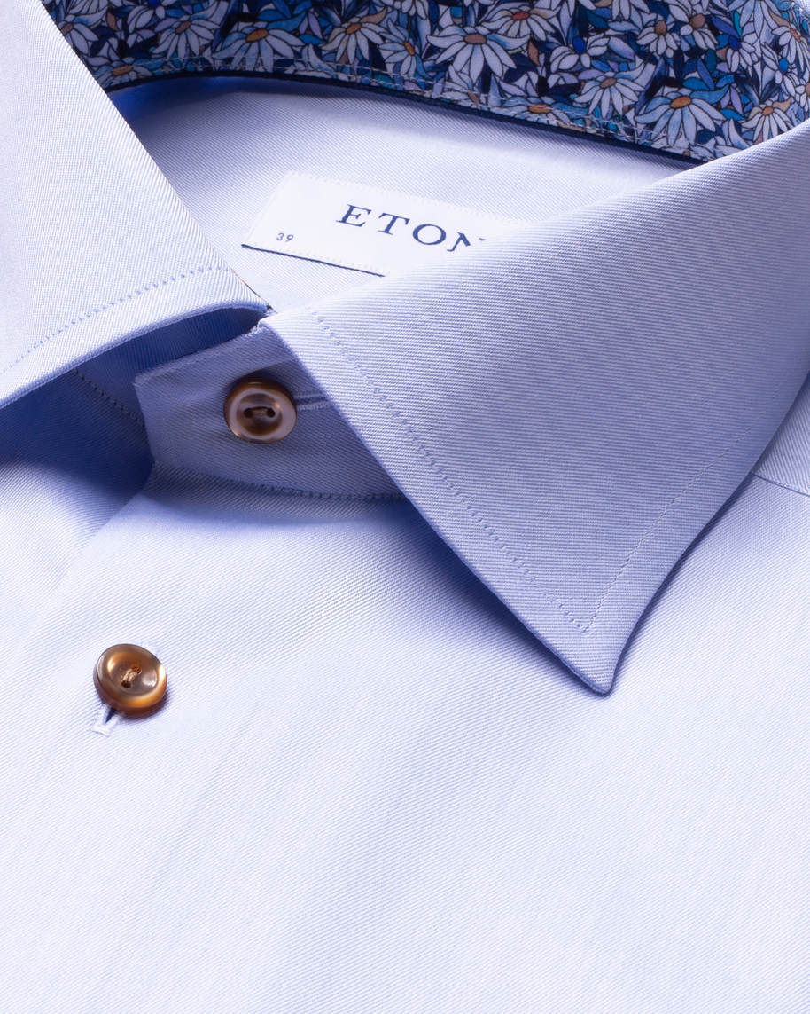 Blue Signature Twill Details Shirt