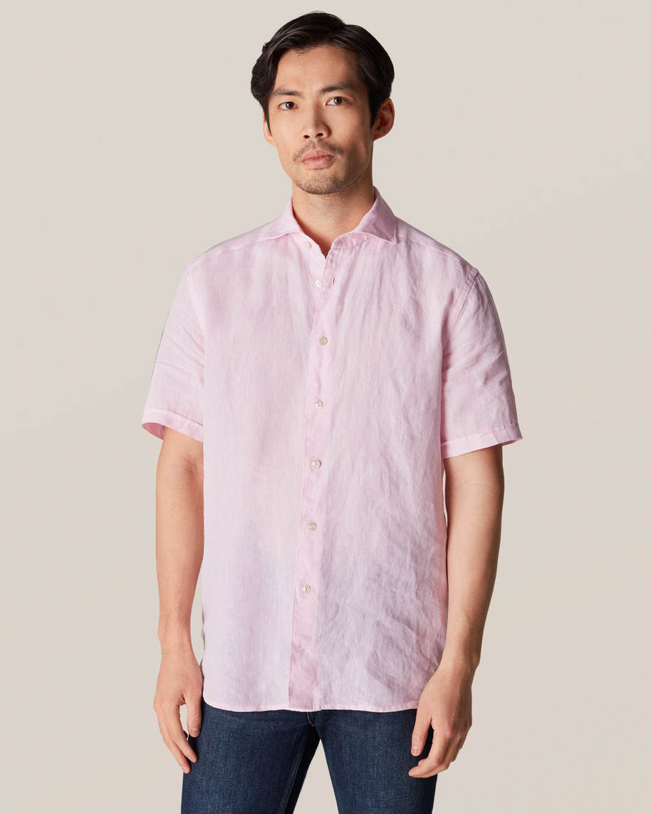 Pink Linen Polo Shirt - Short Sleeved
