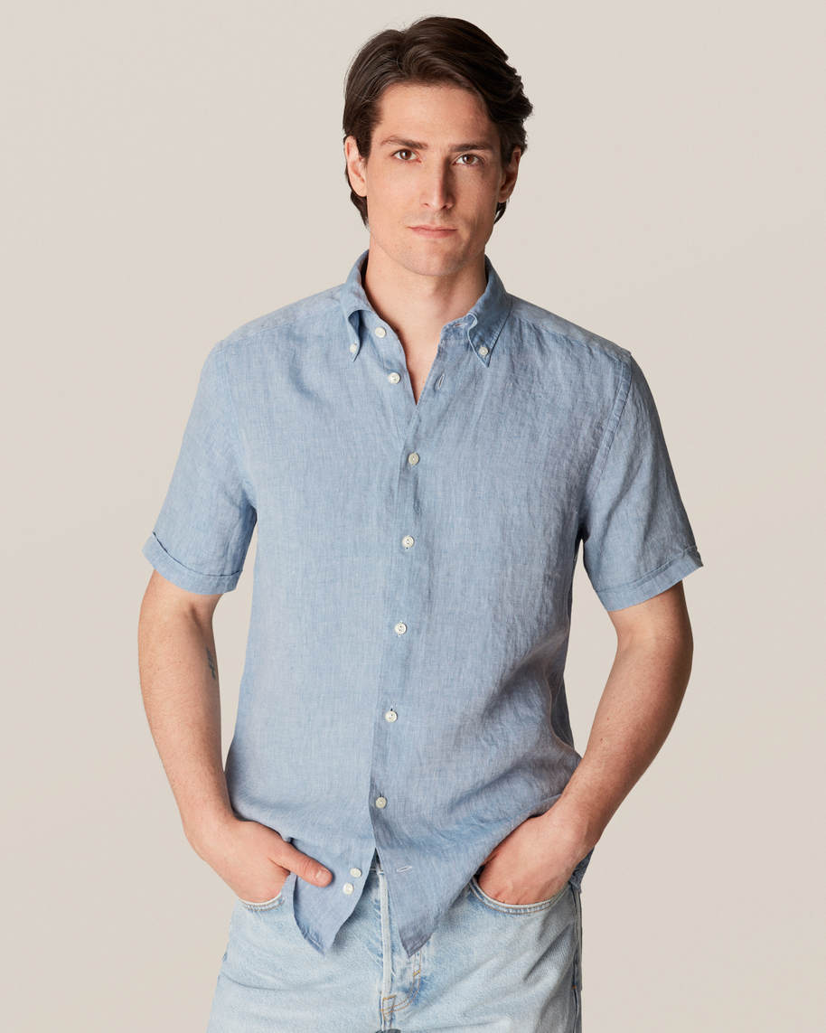 Blue Linen Shirt  - Short Sleeved