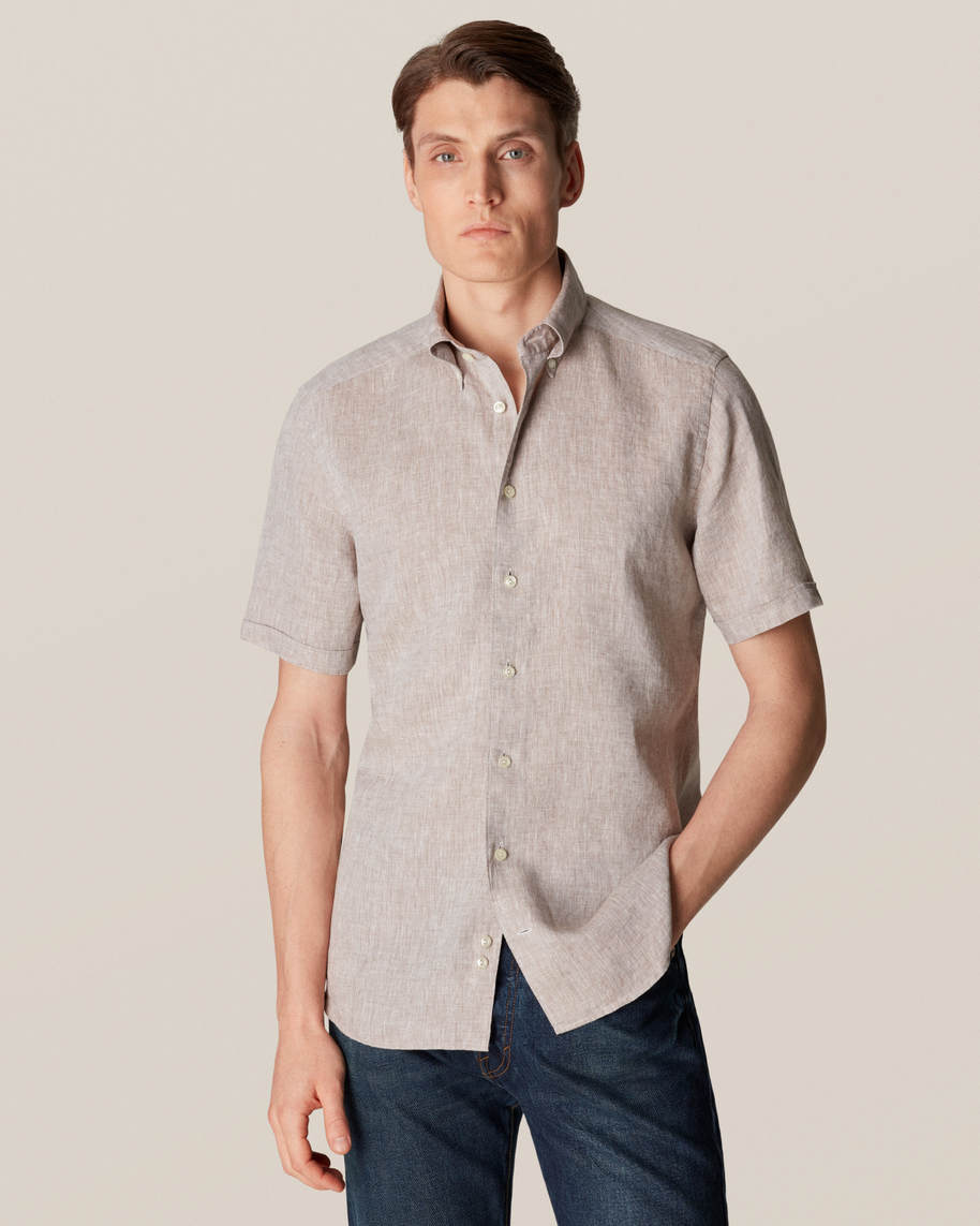 Beige Linen Shirt  - Short Sleeved