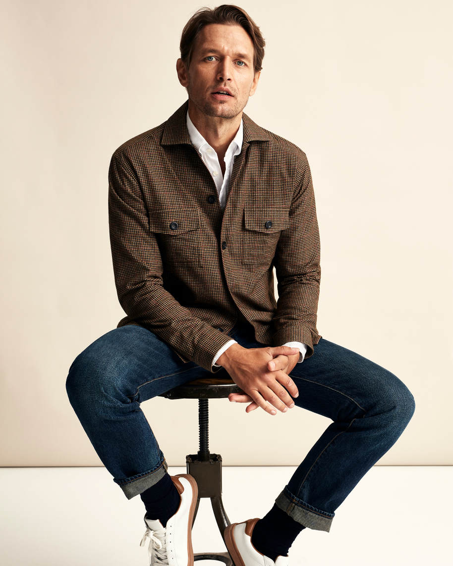 Brown Checked Cotton–wool–cashmere Flannel Overshirt