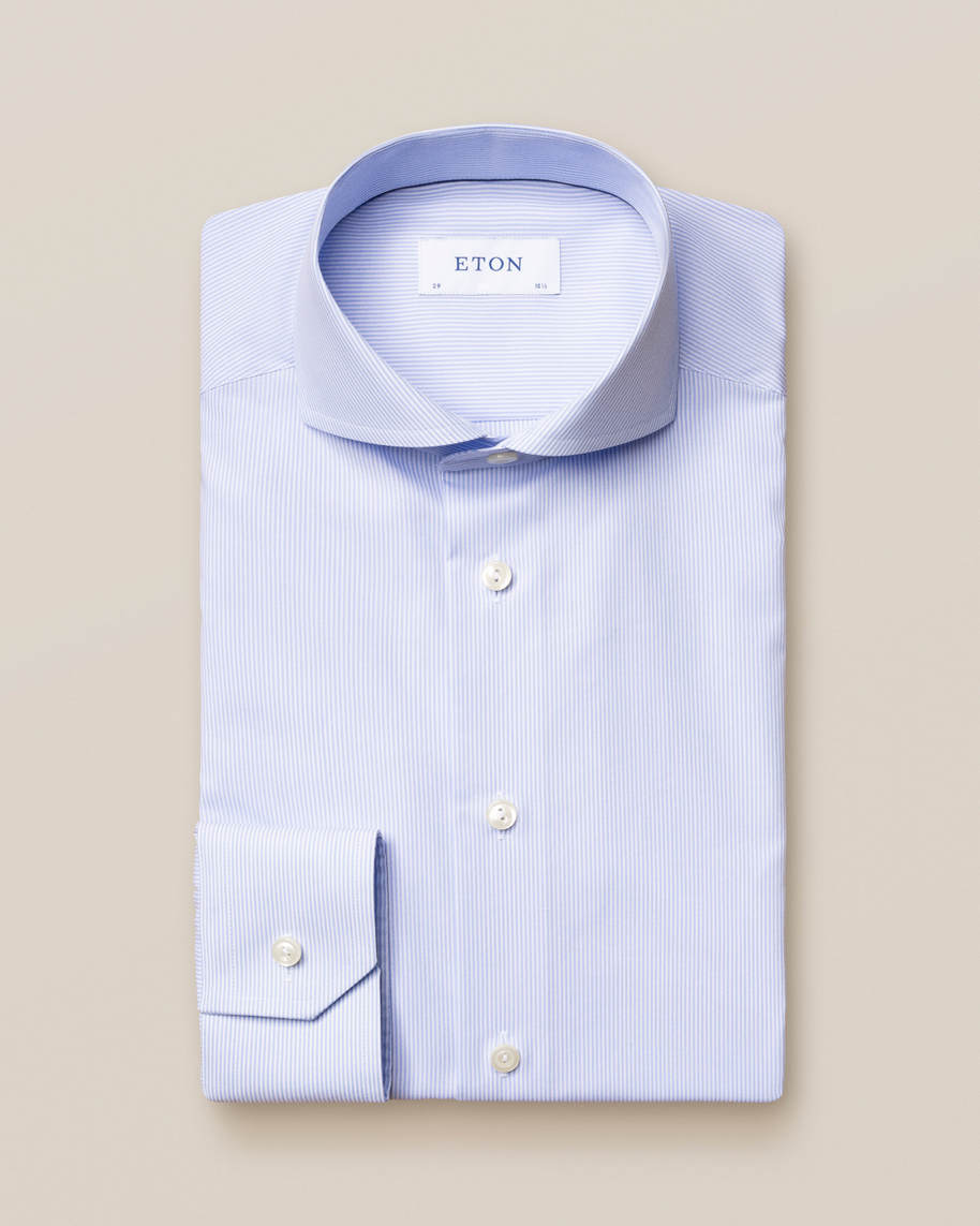 Light Blue Striped Poplin Shirt - image 2