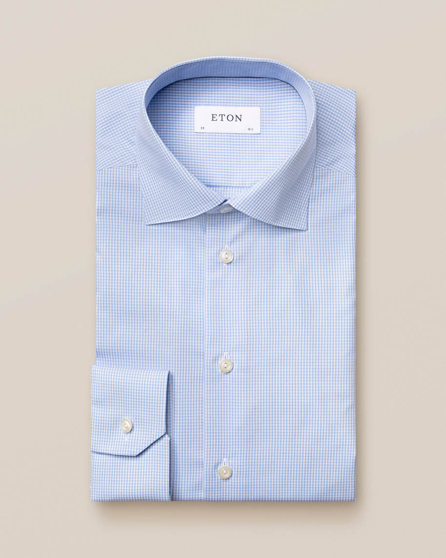 Light Blue Check Poplin Shirt - image 1