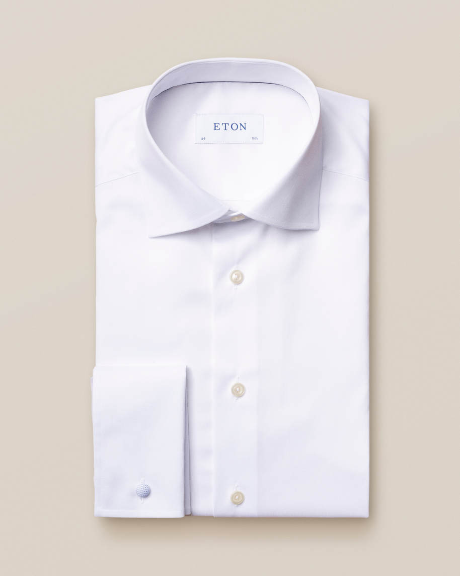 White Signature Twill Shirt – French Cuffs