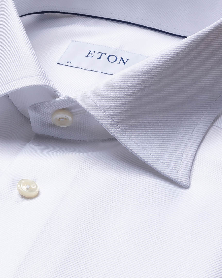 White Textured Twill Shirt – French Cuffs - image 2