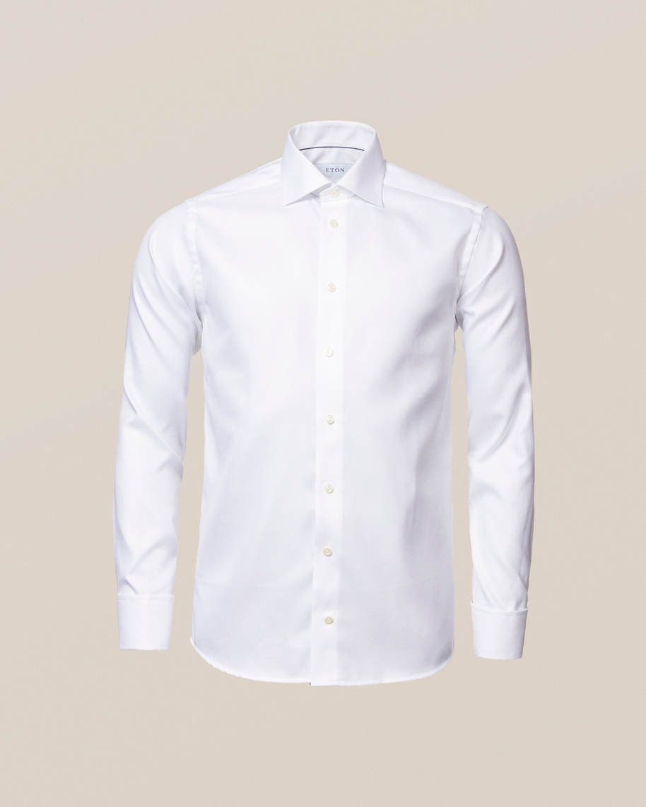 White Textured Twill Shirt – French Cuffs - image 4