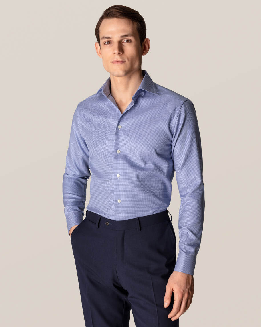 Mid Blue Patterned Twill Shirt - image 1