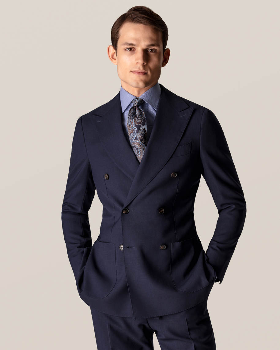 Mid Blue Patterned Twill Shirt - image 9