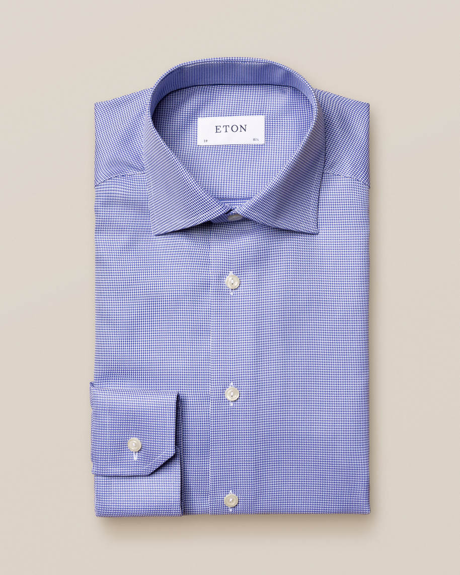 Mid Blue Patterned Twill Shirt - image 2