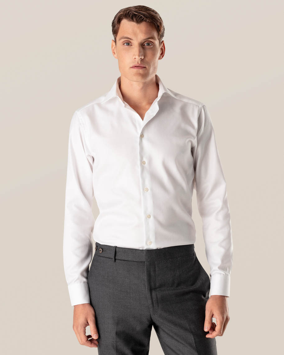 White Herringbone Twill Shirt - image 1