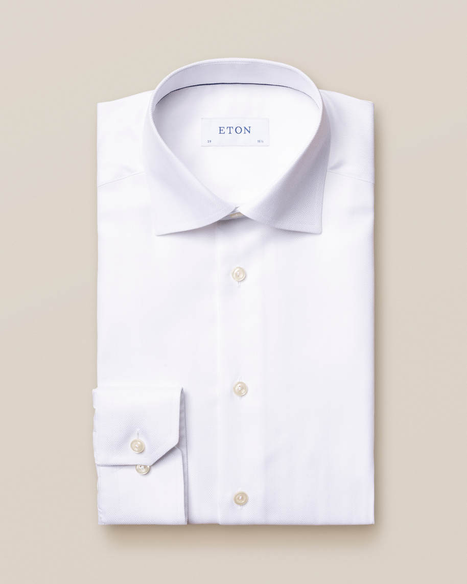 White Herringbone Twill Shirt - image 2