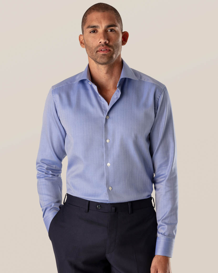 Mid Blue Herringbone Twill Shirt - image 1