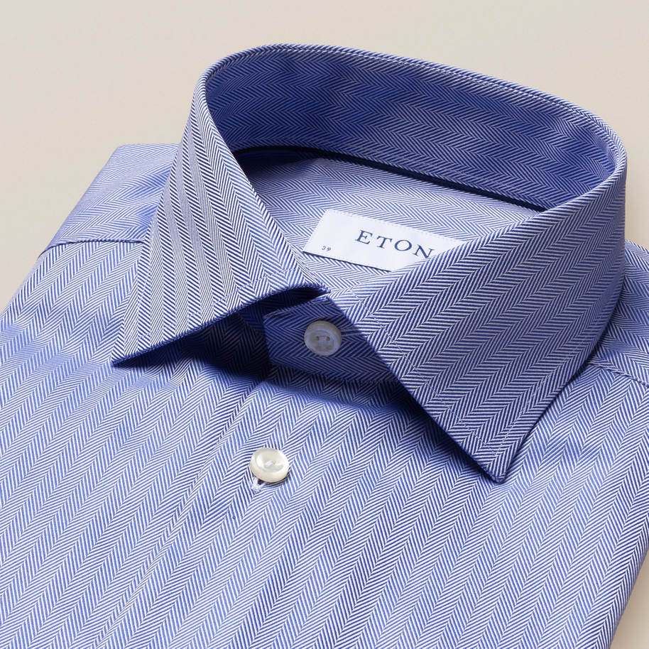 Mid Blue Herringbone Twill Shirt - image 4