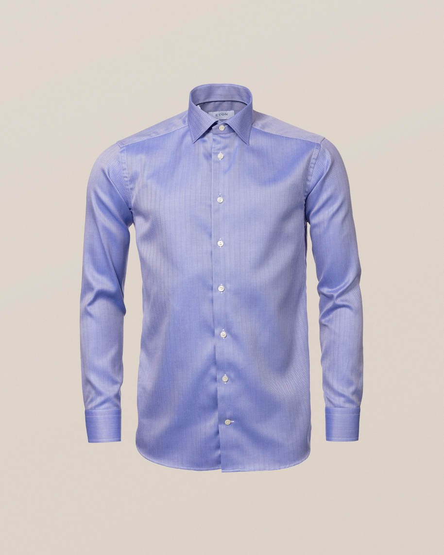 Mid Blue Herringbone Twill Shirt - image 9