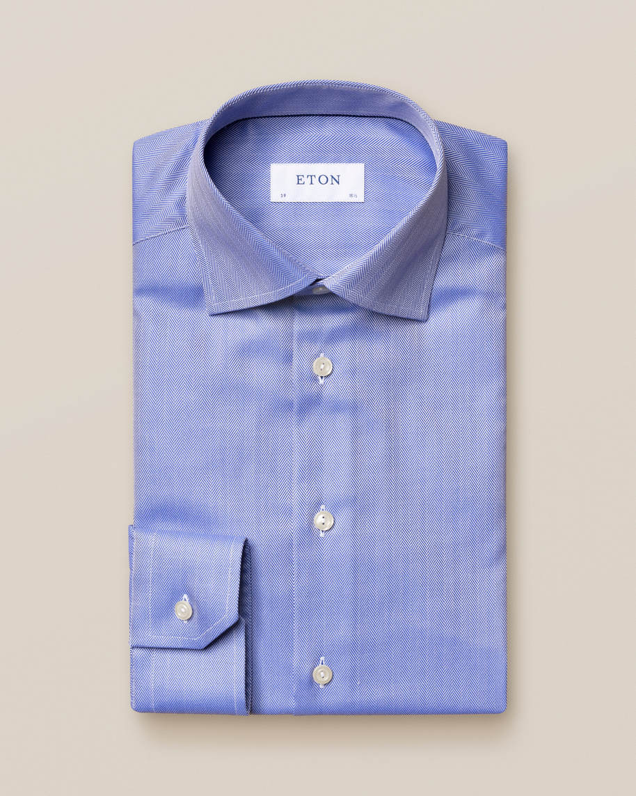 Mid Blue Herringbone Twill Shirt - image 2