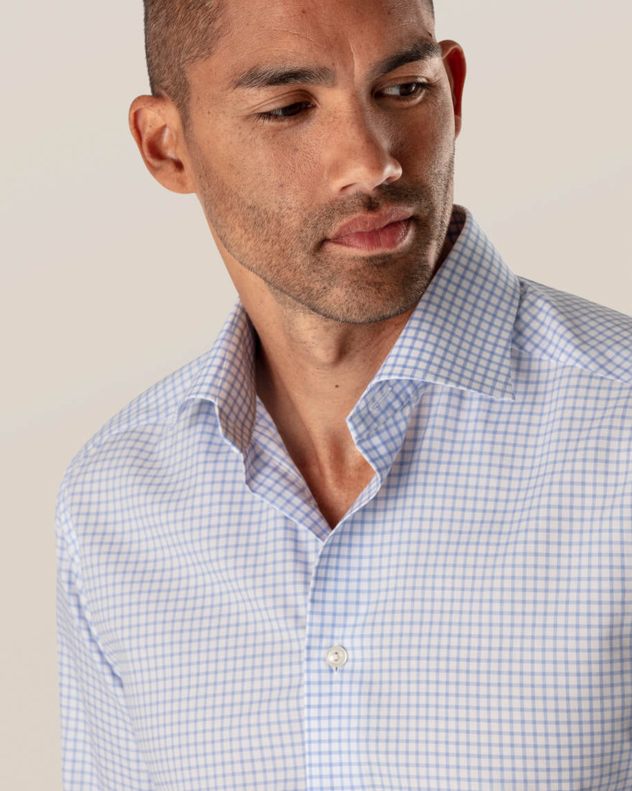 Light Blue Checked Stretch Twill Shirt - image 10