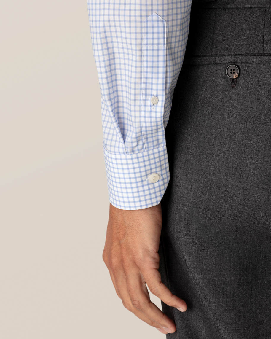 Light Blue Checked Stretch Twill Shirt - image 9