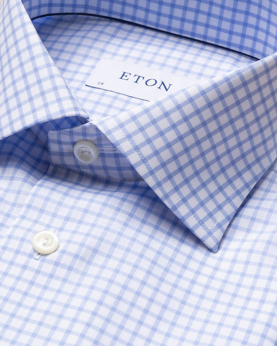 Light Blue Checked Stretch Twill Shirt - image 4