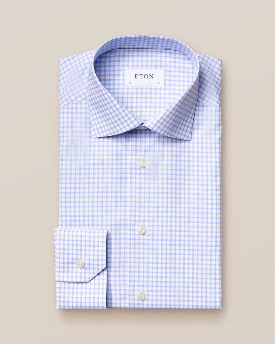 Light Blue Checked Stretch Twill Shirt - image 2