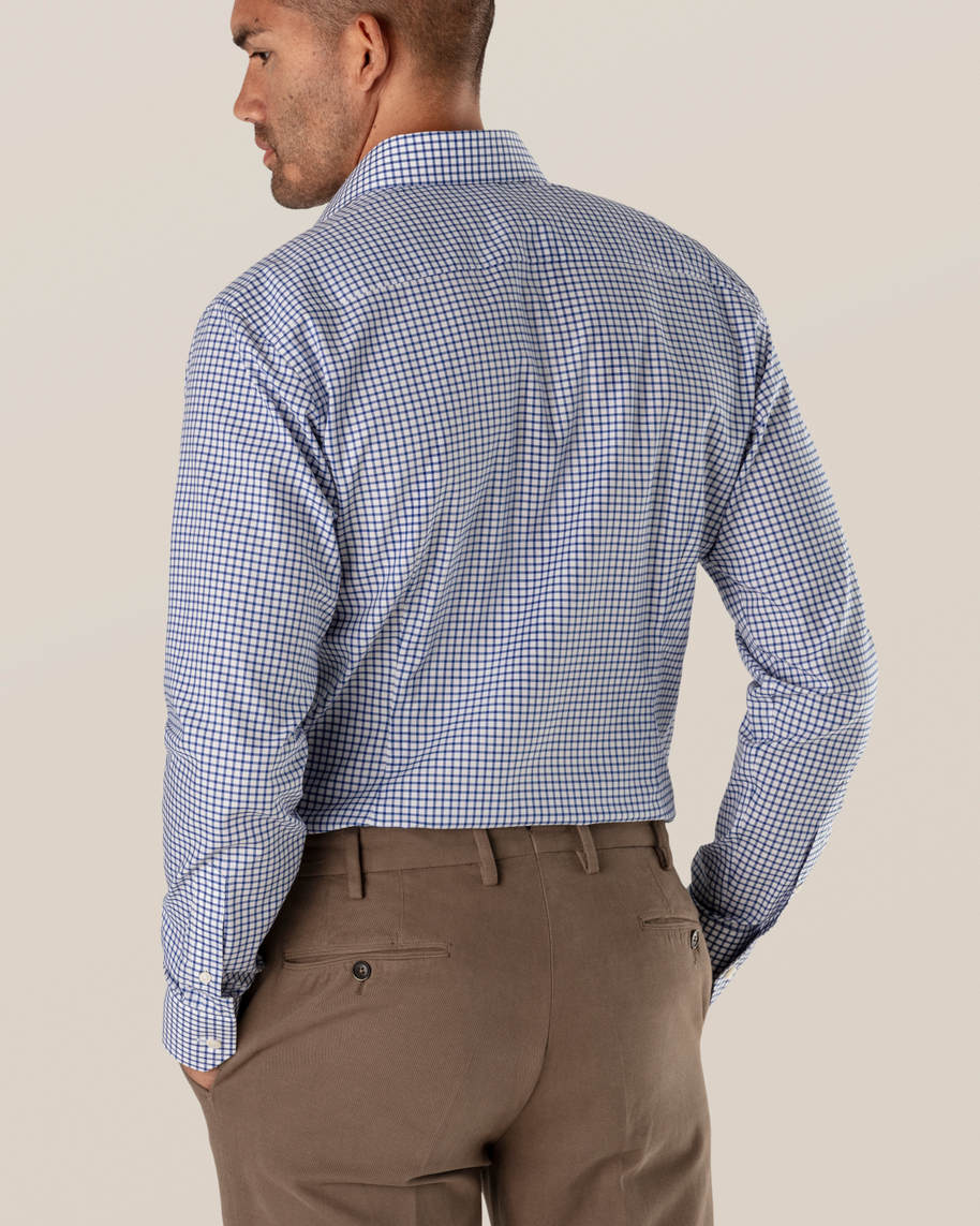 Blue & White Checked Stretch Twill Shirt - image 5
