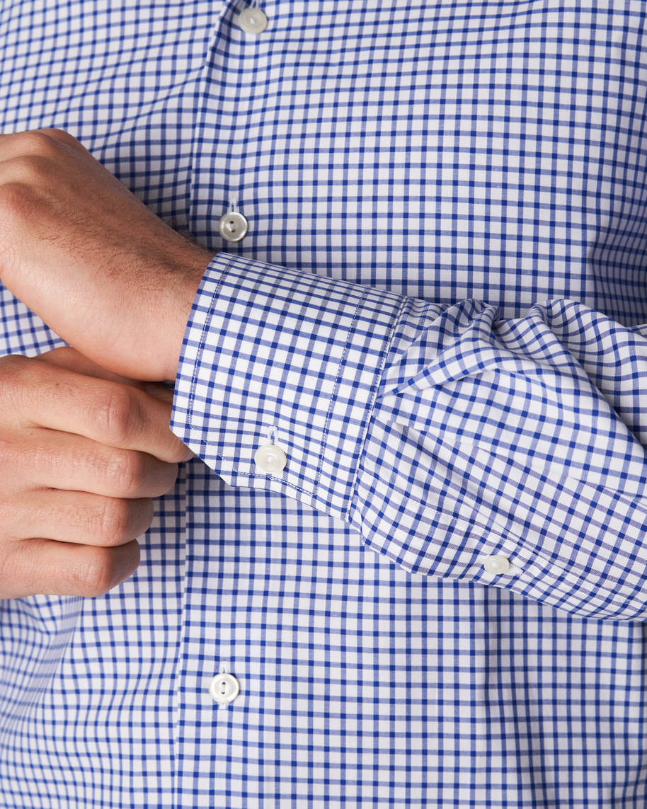 Blue & White Checked Stretch Twill Shirt - image 8