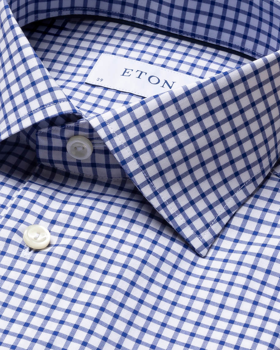 Blue & White Checked Stretch Twill Shirt - image 3
