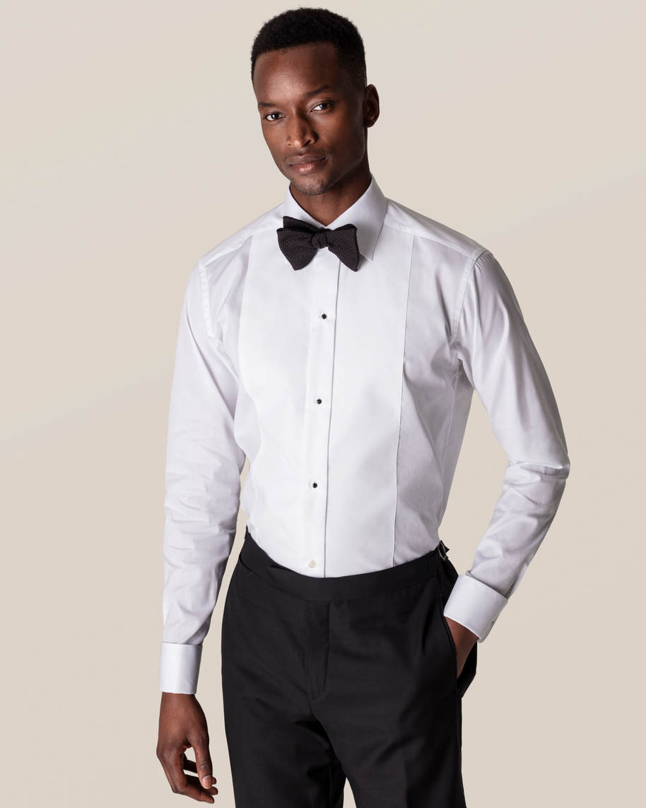 White Piqué Black Tie Shirt