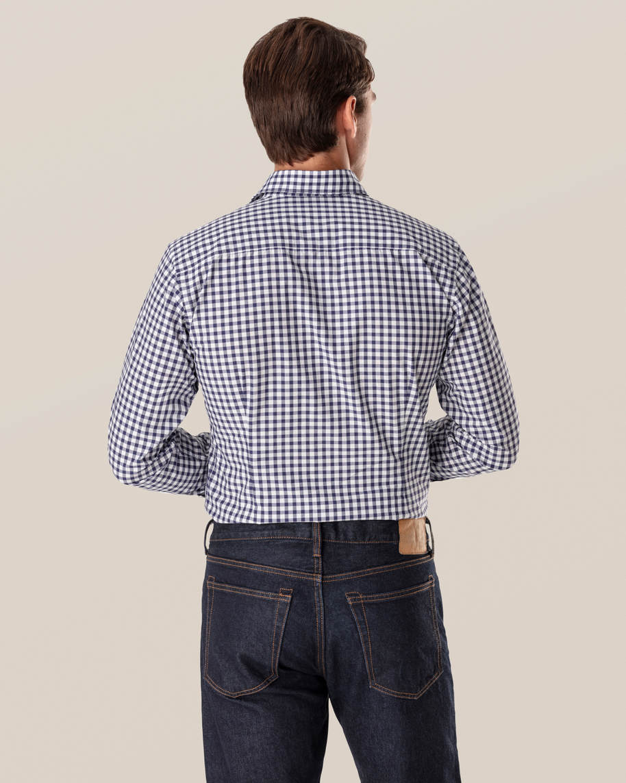 Dark Blue Gingham Shirt - image 5