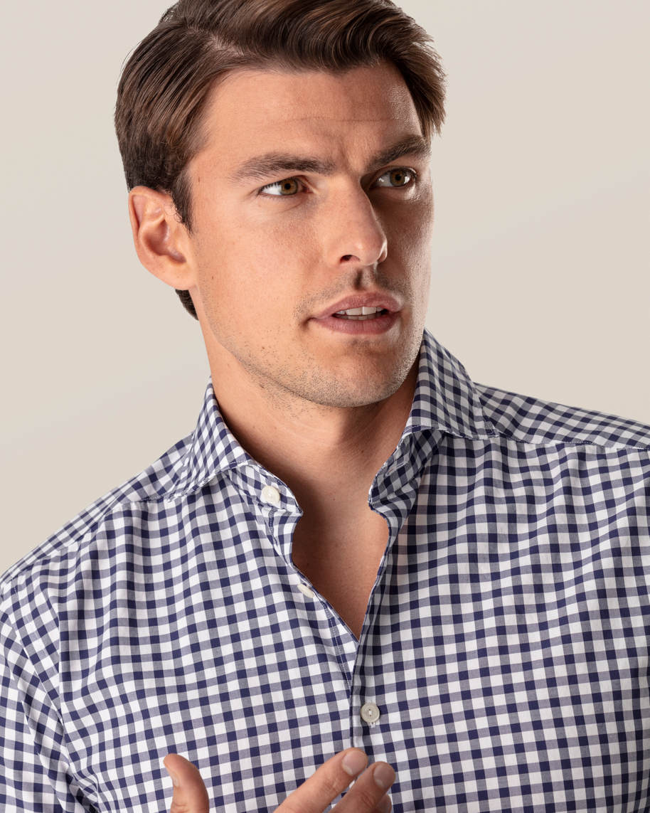 Dark Blue Gingham Shirt - image 7