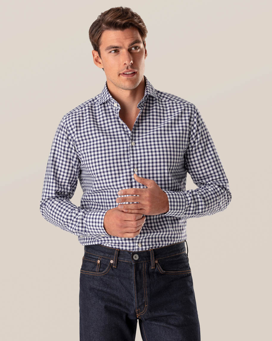 Dark Blue Gingham Shirt - image 1