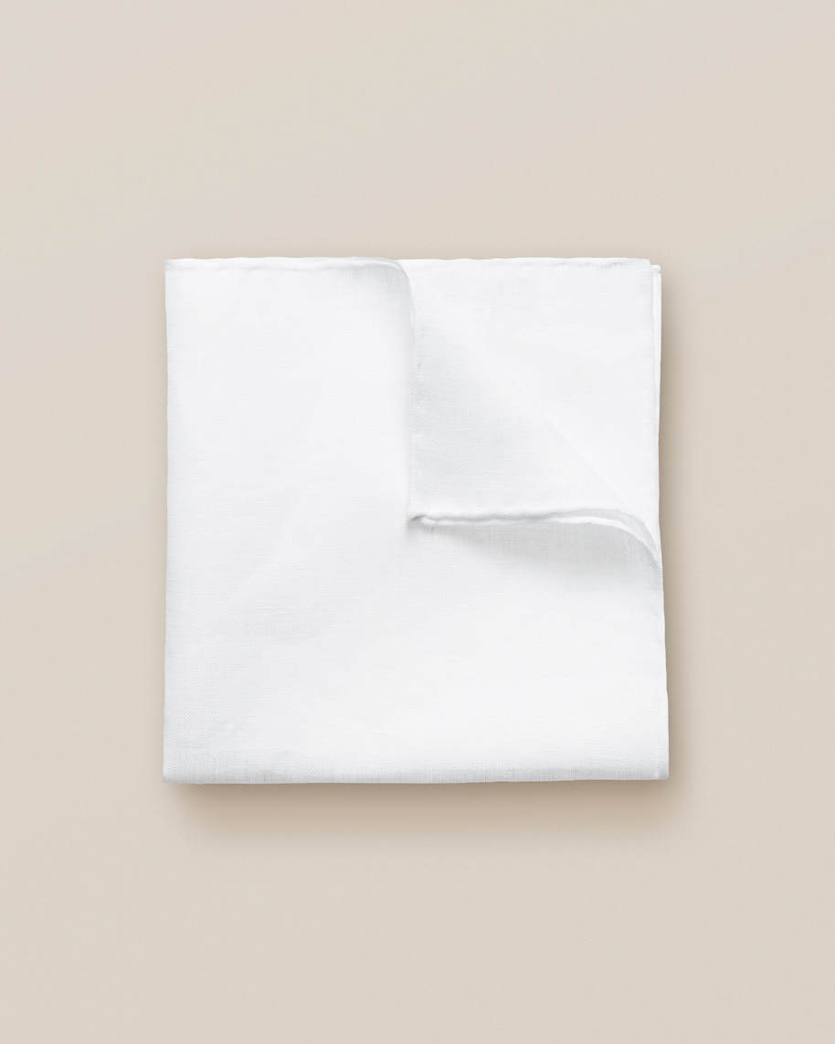 White Linen Pocket Square - image 1