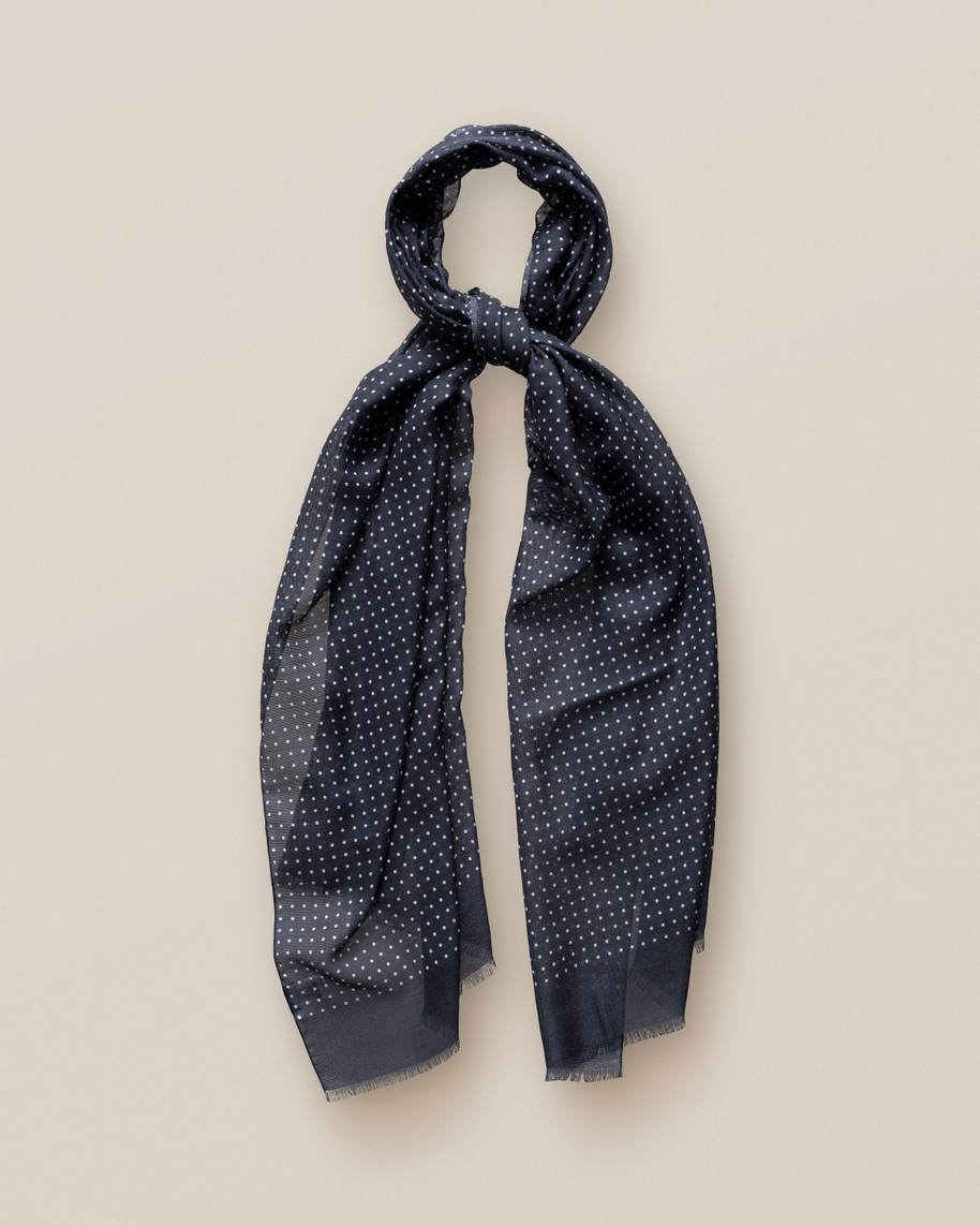 Dark Blue Dots Wool and Silk Scarf