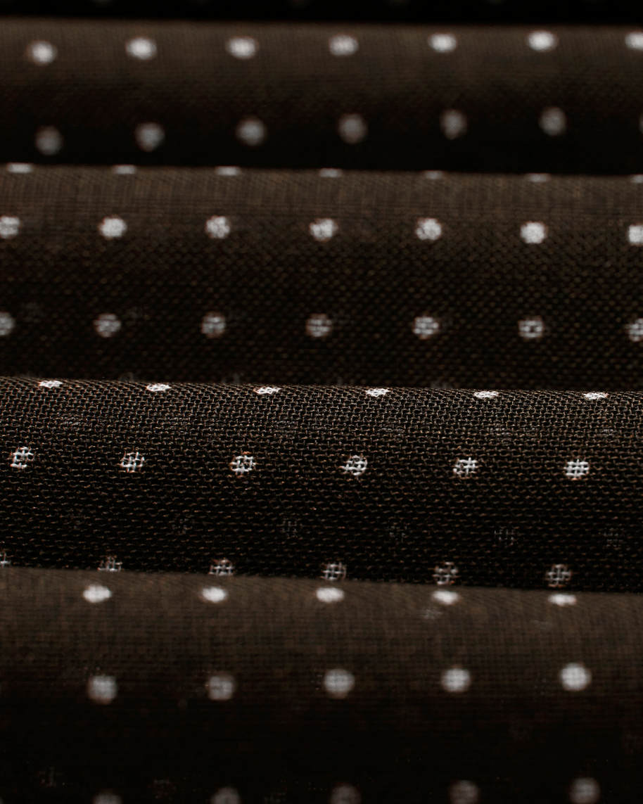 Brown Dots Wool and Silk Scarf